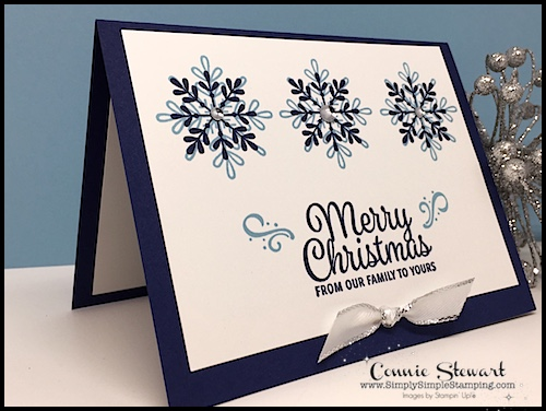 Merry Christmas: Speedy Delivery 2-Minute Video - watch Connie Stewart create this quick Christmas card with the Snowflake Sentiments stamp set. Easy and SPEEDY! Look for the November 3, 2018 post on www.SimplySimpleStamping.com While you're there check out all the many cardmaking ideas and video tutorials! #cardmaking #greetingcards #stampinupcards #ConnieStewart #SimplySimpleStamping