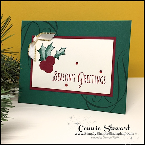 Stylish Christmas Flash Card Video - join Ginny Stewart (Connie's daughter) as she shares how to create one of the cards in the Stylish Christmas Fundraiser tutorials. www.SimplySimpleStamping.com - look for the October 18, 2018 post #christmascards #greetingcards #stampinupcards #specialolympics #conniestewart #simplysimplestamping