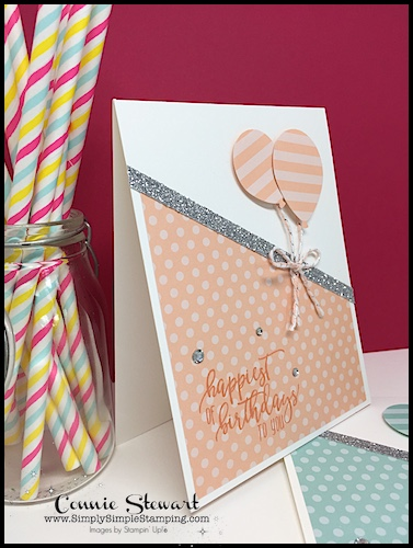 Birthday Balloons MAKE IT IN MINUTES video by Connie Stewart - created with the Picture Perfect stamp set and the Balloon Bouquet punch - see the video at www.SimplySimpleStamping.com - look for the October 25, 2018 post. #birthdaycards #cardmaking #greetingcards #stampinupcards #conniestewart #simplysimplestamping
