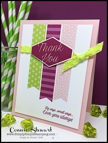 Designer Paper Thank You: Speedy Delivery 2-Minute Video - watch Connie Stewart create this quick Thank You card with the Accented Blooms stamp set. Easy and SPEEDY! Look for the November 17, 2018 post on www.SimplySimpleStamping.com While you're there check out all the many cardmaking ideas and video tutorials! #cardmaking #greetingcards #stampinupcards #ConnieStewart #SimplySimpleStamping