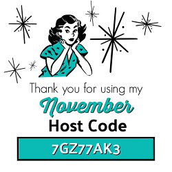 Use the NOVEMBER Host Code 7GZ77AK3 on your order of $30 or more and receive Surprise & Delight in your hand stamped thank you card! www.SimplySimpleStamping.com