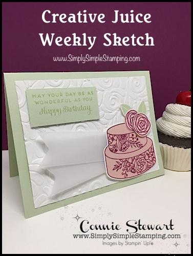 Join Connie in a big glass of Creative Juice! Fun sketches to get your creative juices flowing. A new set of sketches every week! www.SimplySimpleStamping.com - November 9, 2018 blog post! #cardmaking #greetingcards #stampinupcards #cardsbyconnie #conniestewart #simplysimplestamping