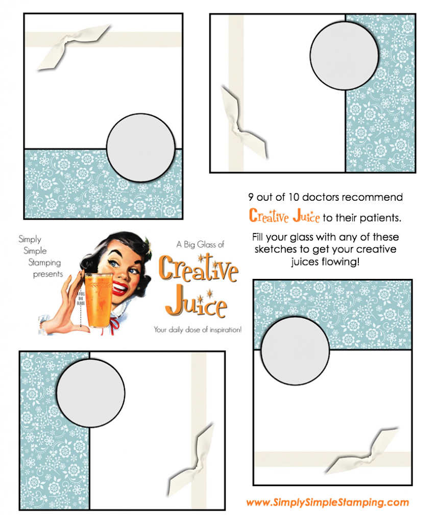 Join Connie in a big glass of Creative Juice! Fun sketches to get your creative juices flowing. A new set of sketches every week! www.SimplySimpleStamping.com - December 21, 2018 blog post!