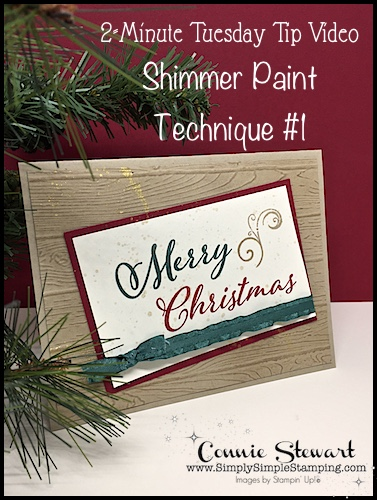 SHIMMER PAINT TECHNIQUE #1: 2 Minute Tuesday Tip Video-Splatter Technique great for cardmaking, handmade greeting cards, scrapbook ideas or paper craft ideas- www.SimplySimpleStamping.com -look for the November 6, 2018. #christmascards #greetingcards #cardmaking #stampinupcards #conniestewart #simplysimplestamping
