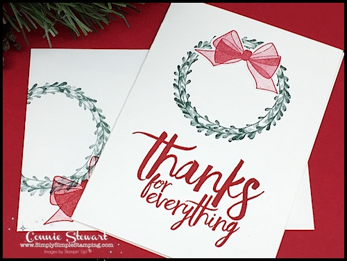Thank-You-Card-Handmade-With-Green-Wreath-and-Red-Bow-Hand-Stamped