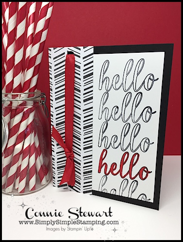 Handmade hello card using stamparatus hinge technique