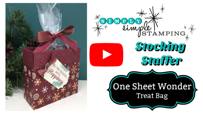 ONE SHEET WONDER - Make 2 Christmas treat bags from ONE sheet of Designer Series Paper! Watch the video at www.SimplySimpleStamping.com - look for the December 20, 2018 blog post