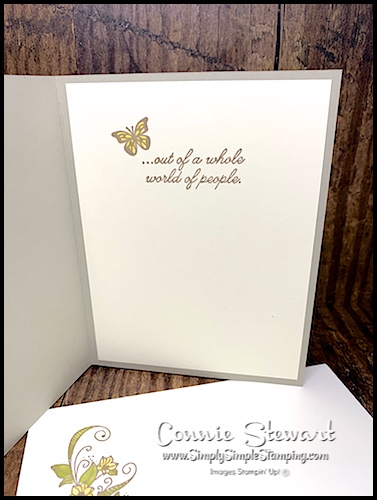 Hand Stamped Greeting with Butterfly on the Inside of a Card