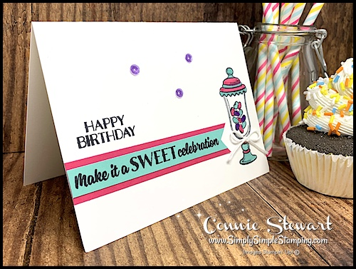 Purple Sequins on a hand stamped Happy Birthday Card with Candy Jar