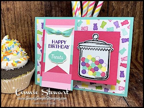 Fun Fold Birthday Card Design Idea by Candy Jar Die Cuts and Ribbon by Connie Stewart
