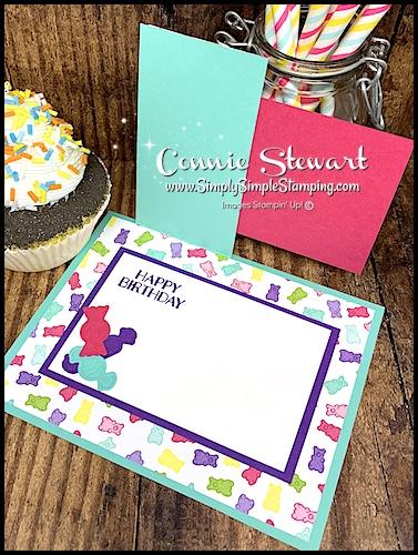 Die Cut Candies in Bright Colors on a Handmade Birthday Card by Connie Stewart