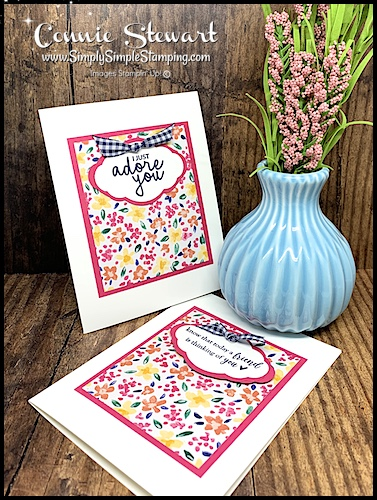 Bright Floral Cards Using Scrapbook Paper and Gingham Ribbon