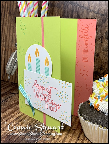 Handmade-Birthday-Card-with-Candles-in-Green-and-Peach-by-Connie-Stewart