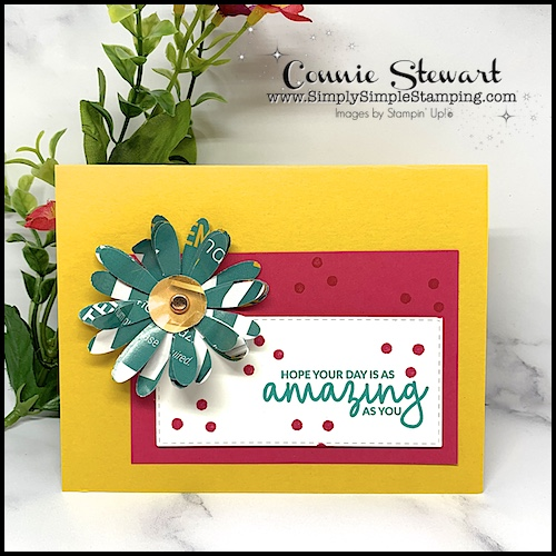 Turn-Junk-Mail-into-Flowers-for-Paper-Craft-Projects-Yellow-Greeting-Card-with-Green-Flowers