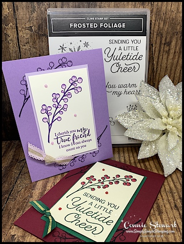 2-Greeting-Cards-Handmade-Christmas-and-Friendship-Cards-in-Red-and-Purple