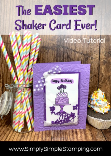 Easiest-Shaker-Card-Handmade-Stamped-Birthday-Cake-in-Purple